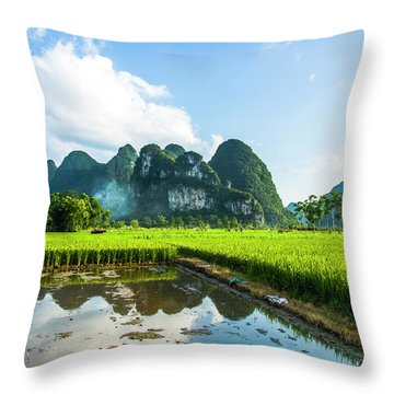 Throw Pillow featuring the photograph The Beautiful Karst Rural Scenery by Carl Ning
