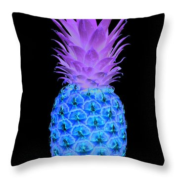 14a Artistic Glowing Pineapple Digital Art Cyan And Pink Throw Pillow