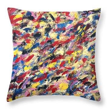 14k Gold Abstract Painting 48x60 Print Throw Pillow