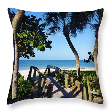 14th Ave S Beach Access Ramp - Naples Fl Throw Pillow