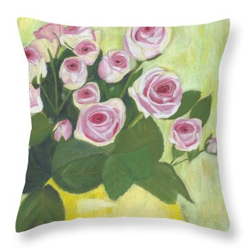 15 Pinks Throw Pillow by Arlene Crafton