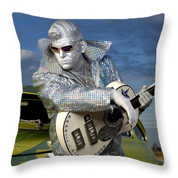 Silver Elvis Throw Pillow by Oleksiy Maksymenko