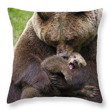 Mother Bear Cuddling Cub Throw Pillow