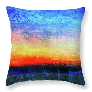15a Abstract Seascape Sunrise Painting Digital Throw Pillow