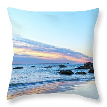 Rocky Daybreak Seascape Throw Pillow