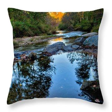 Stone Mountain North Carolina Scenery During Autumn Season Throw Pillow