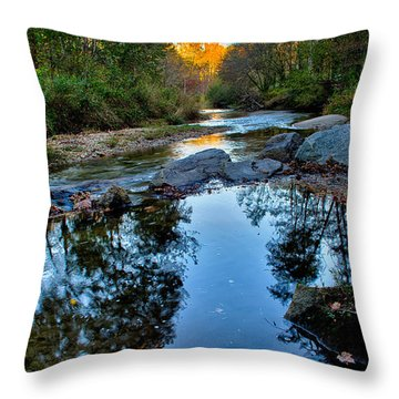 Stone Mountain North Carolina Scenery During Autumn Season Throw Pillow