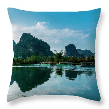 Throw Pillow featuring the photograph The Karst Mountains And River Scenery by Carl Ning