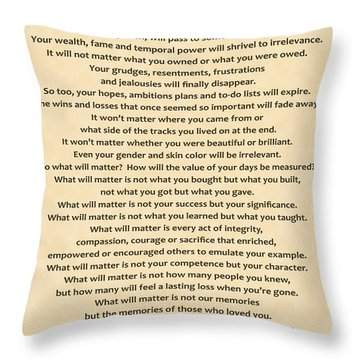 161- What Will Matter Throw Pillow by Joseph Keane