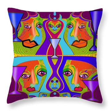 Throw Pillow featuring the digital art 1688 - Funny Faces 2017 by Irmgard Schoendorf Welch