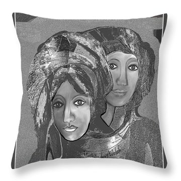 Throw Pillow featuring the digital art 1667 - The Sisters by Irmgard Schoendorf Welch