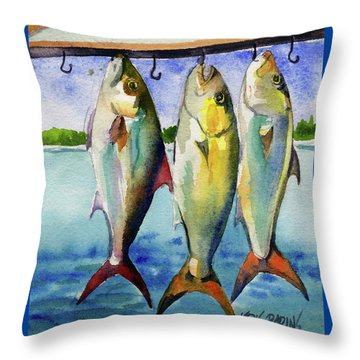 Throw Pillow featuring the painting Amber Jack by Kris Parins