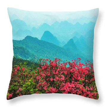 Throw Pillow featuring the photograph  Blossoming Azalea And Mountain Scenery by Carl Ning
