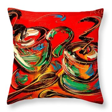 Coffee Throw Pillow by Mark Kazav