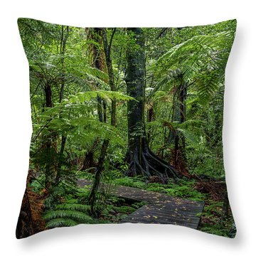 Throw Pillow featuring the photograph Forest Boardwalk by Les Cunliffe