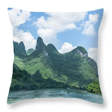 Throw Pillow featuring the photograph Lijiang River And Karst Mountains Scenery by Carl Ning