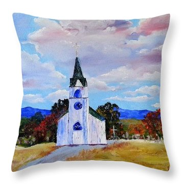 #17 St. Johns Historic Church On Hwy 69 Throw Pillow