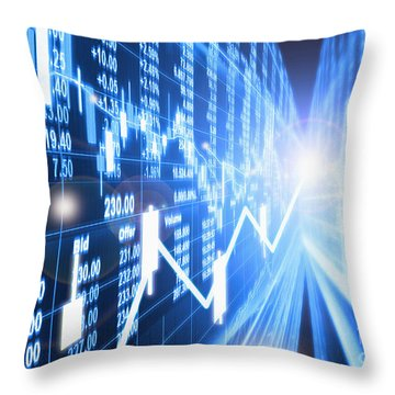 Throw Pillow featuring the photograph Stock Market Concept by Setsiri Silapasuwanchai