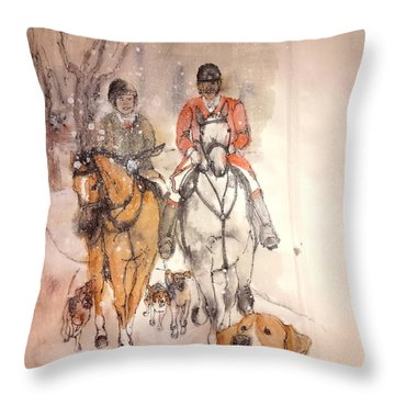 Throw Pillow featuring the painting Talley Ho  Album by Debbi Saccomanno Chan