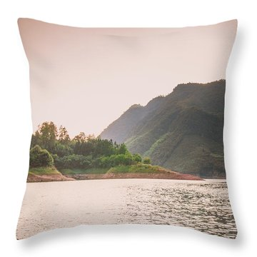 Throw Pillow featuring the photograph The Mountains And Lake Scenery In Sunset by Carl Ning