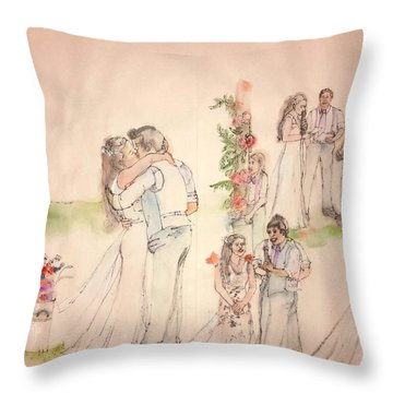 Throw Pillow featuring the painting The Wedding Album  by Debbi Saccomanno Chan