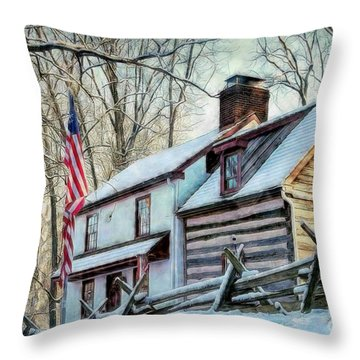 1700's Log House In West Chester, Pa Throw Pillow