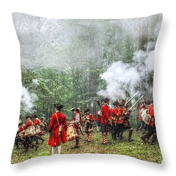 1763 Bushy Run British Counterattack Throw Pillow by Randy Steele