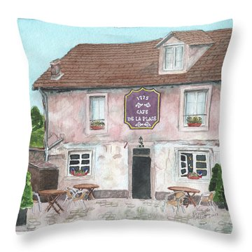 Throw Pillow featuring the painting 1775 Cafe De La Place by Betsy Hackett