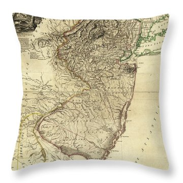 1778 Nj Map Throw Pillow by Mark Miller