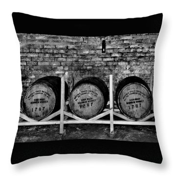 1787 Whiskey Barrels Throw Pillow by Tara Potts