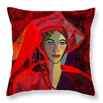 1791 - Lady In Red 2017 Throw Pillow by Irmgard Schoendorf Welch