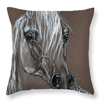 Arabian Horse  Throw Pillow by Angel  Tarantella