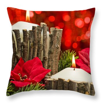 Throw Pillow featuring the photograph Autumn Candles by Ulrich Schade