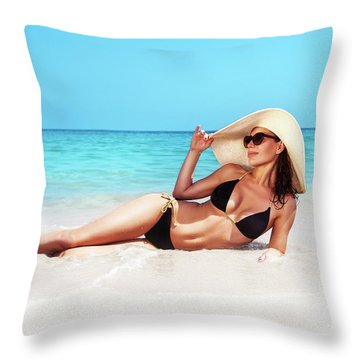 Beautiful Woman On The Beach Throw Pillow