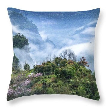 Throw Pillow featuring the photograph Mountains Scenery In The Mist by Carl Ning