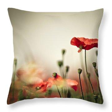 Poppy Fields Throw Pillows