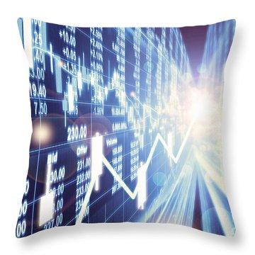 Throw Pillow featuring the photograph Stock Market Concept by Setsiri Silapasuwanchai