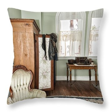Throw Pillow featuring the photograph 1800 Closet And Chair by Linda Constant