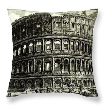 Throw Pillow featuring the drawing 1810 Italian Etching Of The Ruins Of The Roman Colosseum Francesco Piranesi by Peter Gumaer Ogden