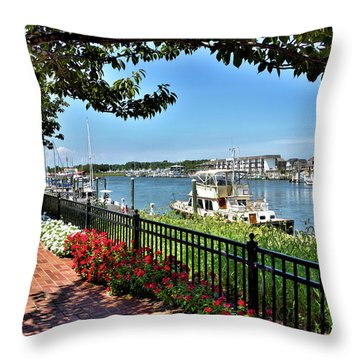 Throw Pillow featuring the photograph 1812 Memorial Park - Lewes Delaware by Brendan Reals