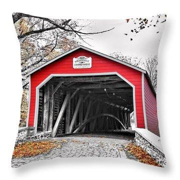 Throw Pillow featuring the photograph 1839 Kreidersville Bridge by DJ Florek