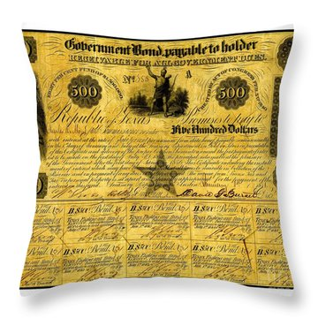 Throw Pillow featuring the drawing 1841 Texas Bond Signed By David G Burnet President Of The Republic Of Texas by Peter Gumaer Ogden