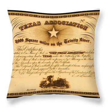 Throw Pillow featuring the drawing 1844 Texas Association Stock Certificate For Pioneer Emigration To The Mercer Colony by Peter Gumaer Ogden