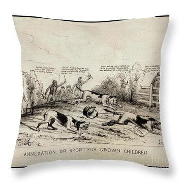 Throw Pillow featuring the drawing 1845 Texas Mexico Annexation Cartoon by Peter Gumaer Ogden