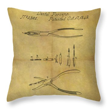 1848 Dental Forceps Patent Throw Pillow by Dan Sproul