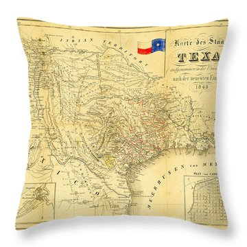 1849 Texas Map Throw Pillow