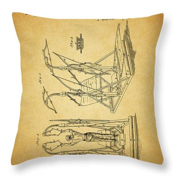 1853 Exercising Machine Patent Throw Pillow by Dan Sproul