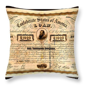 Throw Pillow featuring the drawing 1863 Confederate States Of America Loan With Stonewall Jackson Portrait Issued At Houston by Peter Gumaer Ogden
