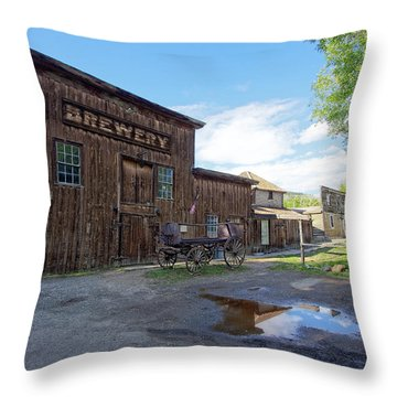 1863 H. S. Gilbert Brewery - Virginia City Ghost Town Throw Pillow by Daniel Hagerman