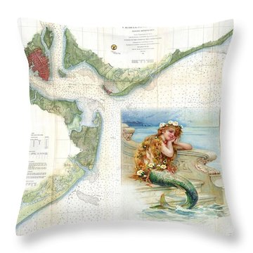 1866 Charleston Harbor Throw Pillow